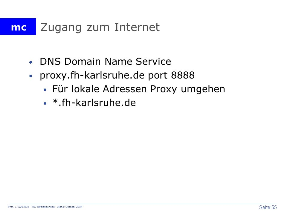 Zugang zum Internet DNS Domain Name Service