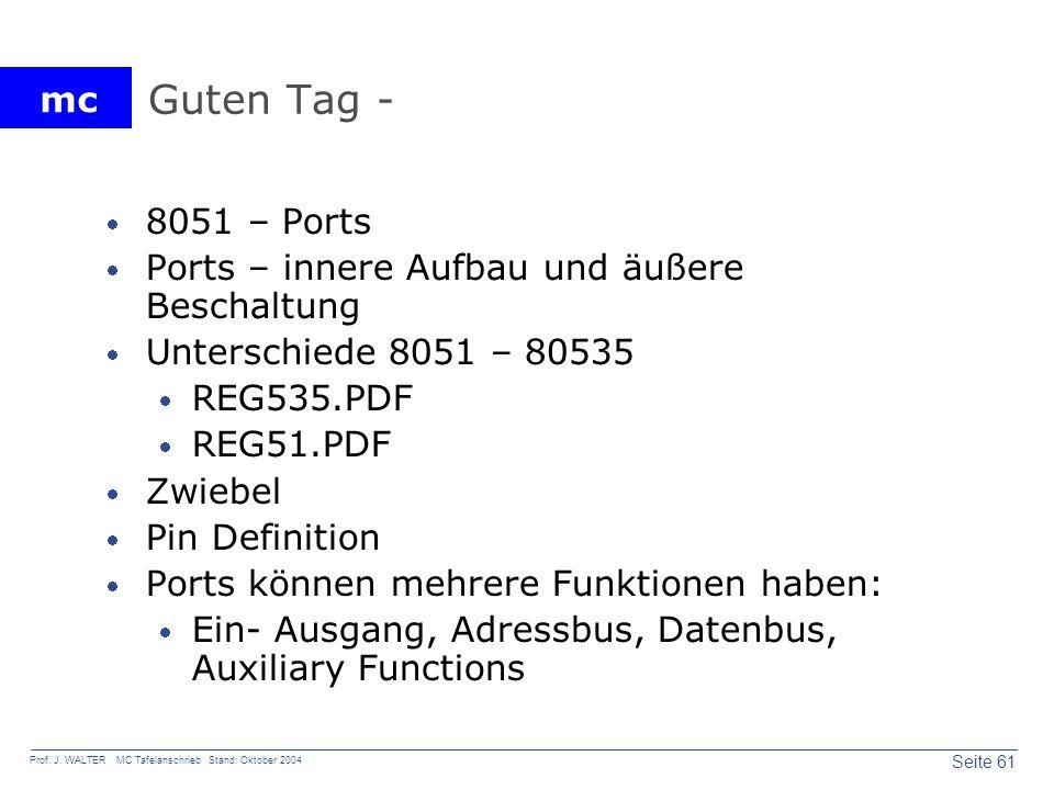Guten Tag - 8051 – Ports Ports – innere Aufbau und äußere Beschaltung