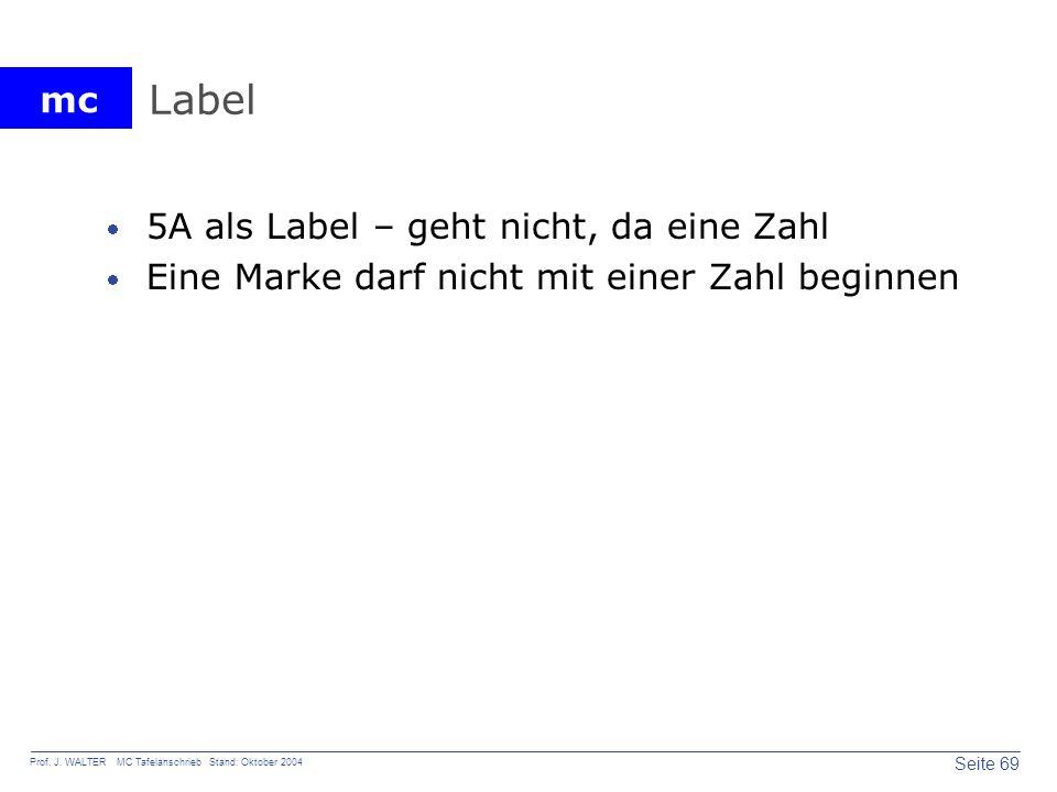 Label 5A als Label – geht nicht, da eine Zahl