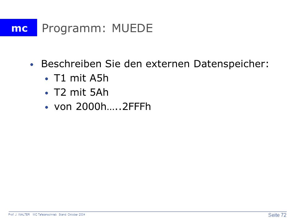 Programm: MUEDE Beschreiben Sie den externen Datenspeicher: T1 mit A5h