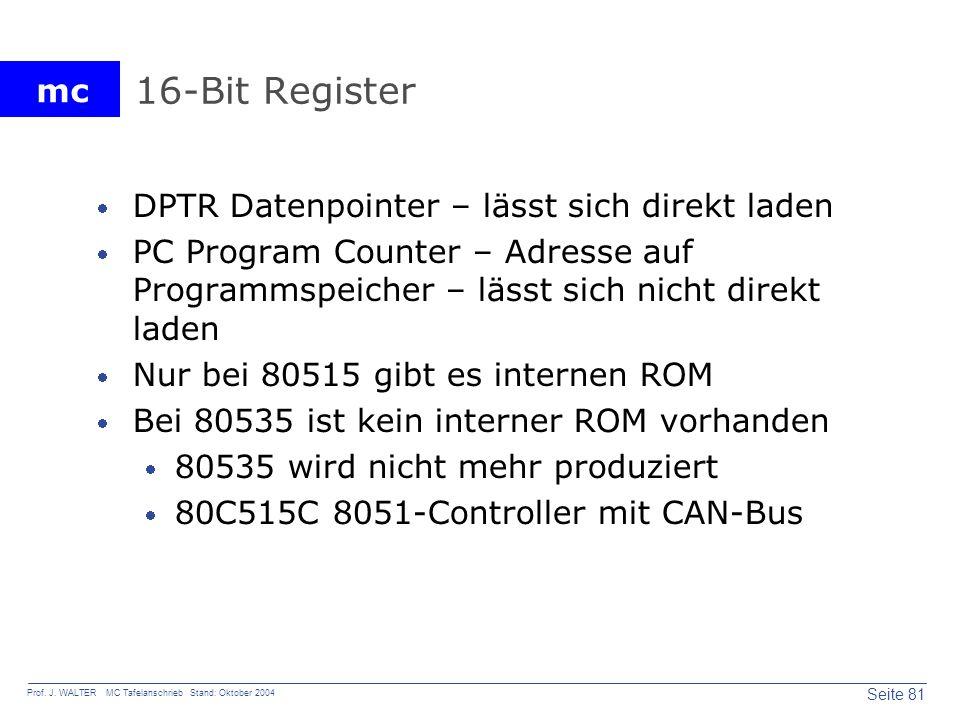 16-Bit Register DPTR Datenpointer – lässt sich direkt laden