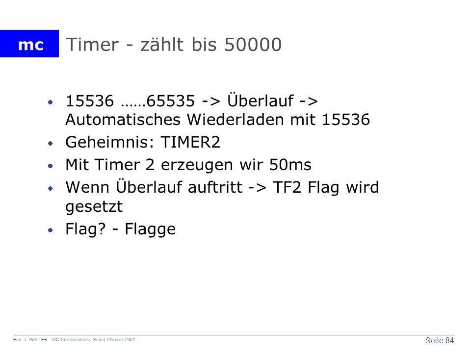 Timer - zählt bis 50000 15536 ……65535 -> Überlauf -> Automatisches Wiederladen mit 15536. Geheimnis: TIMER2.
