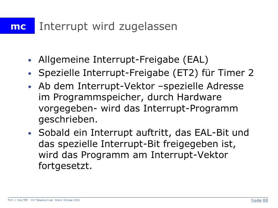 Interrupt wird zugelassen