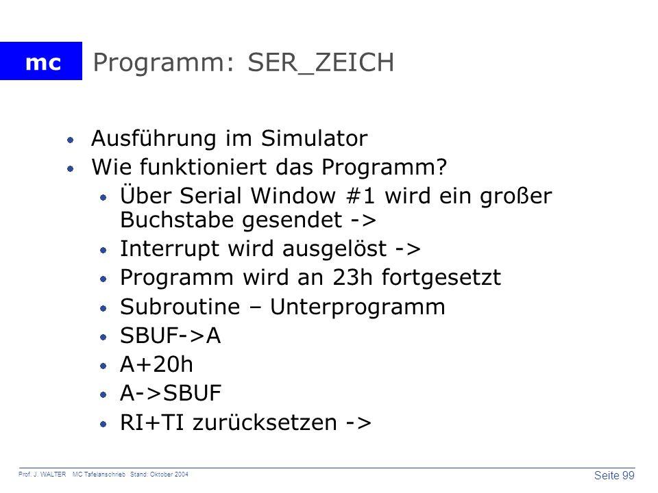 Programm: SER_ZEICH Ausführung im Simulator