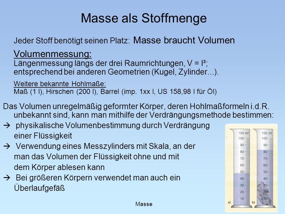 Masse als Stoffmenge Jeder Stoff benötigt seinen Platz: Masse braucht Volumen.