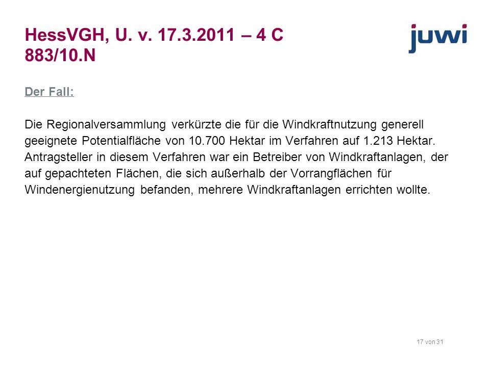 HessVGH, U. v. 17.3.2011 – 4 C 883/10.N