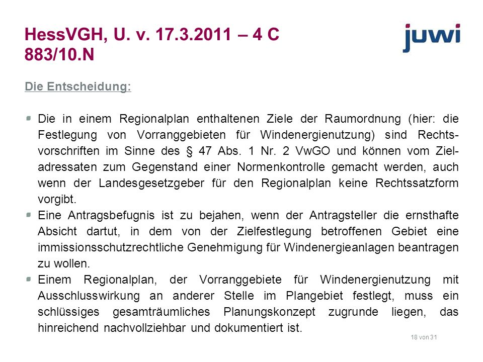 HessVGH, U. v. 17.3.2011 – 4 C 883/10.N Die Entscheidung: