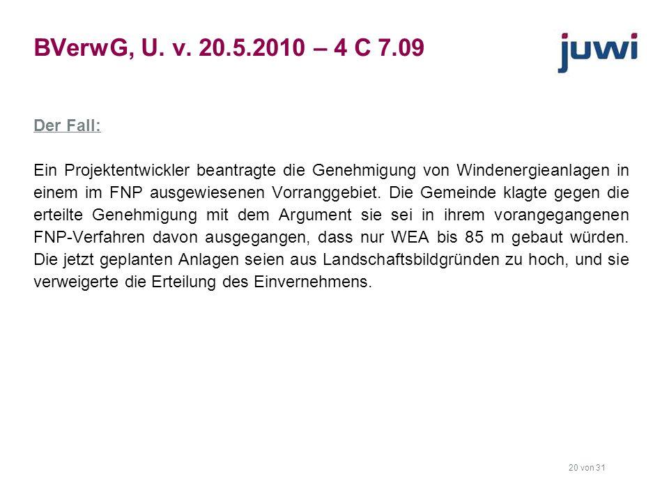 BVerwG, U. v. 20.5.2010 – 4 C 7.09