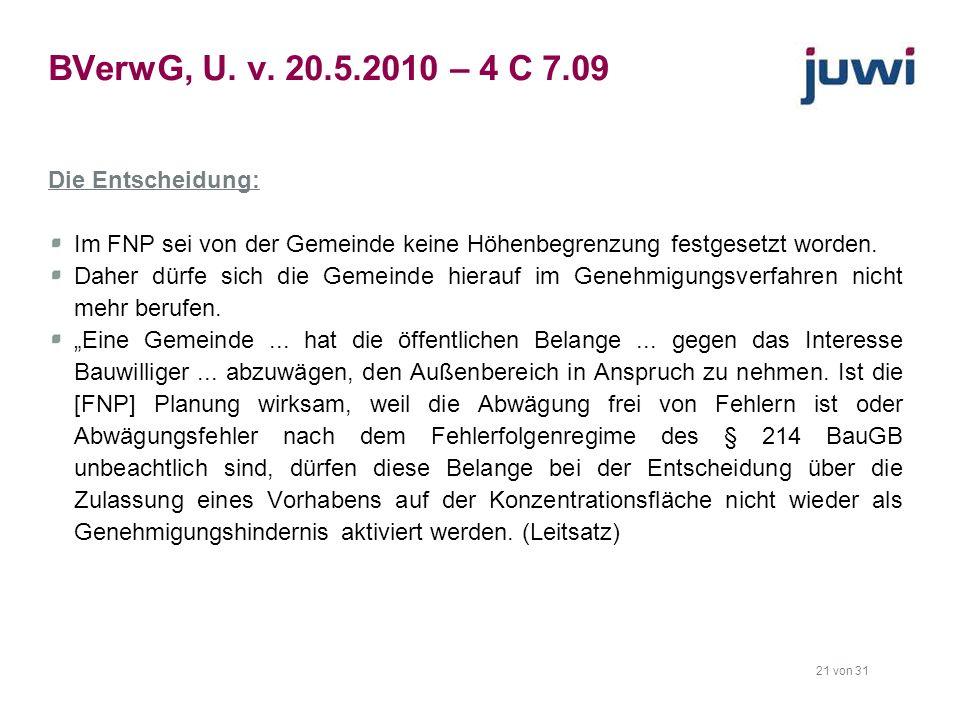 BVerwG, U. v. 20.5.2010 – 4 C 7.09 Die Entscheidung:
