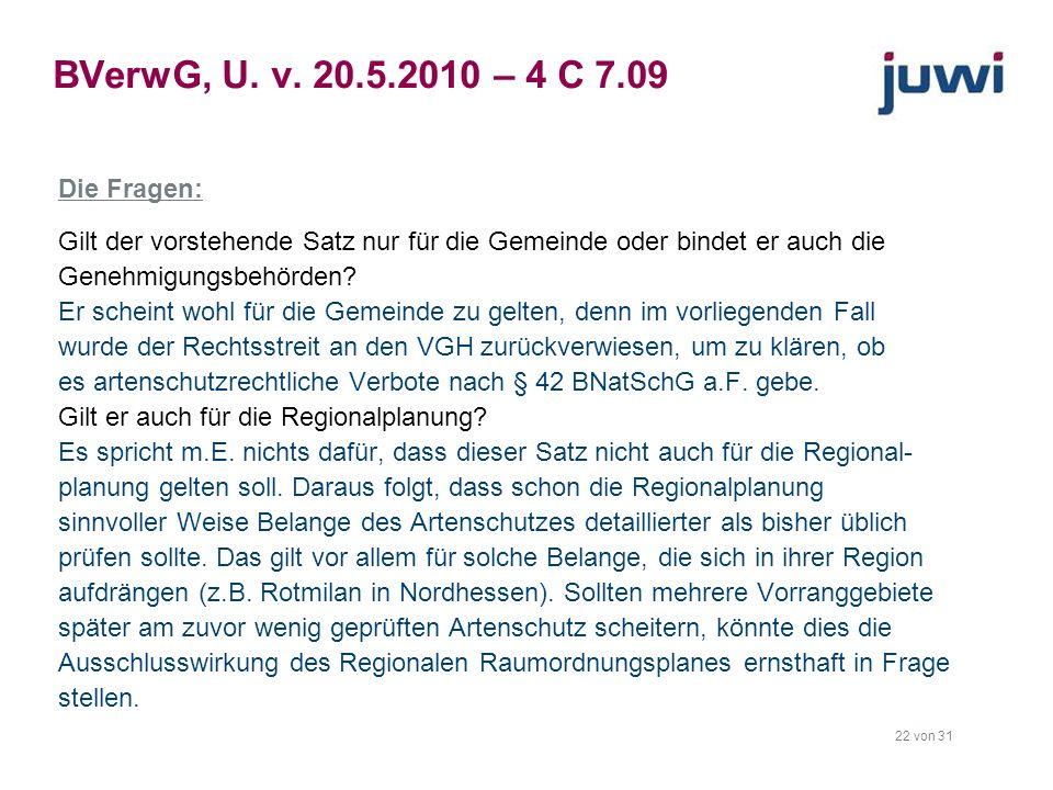 BVerwG, U. v. 20.5.2010 – 4 C 7.09 Die Fragen: