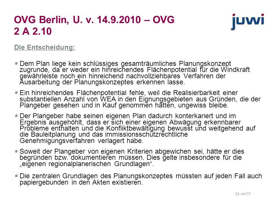 OVG Berlin, U. v. 14.9.2010 – OVG 2 A 2.10 Die Entscheidung: