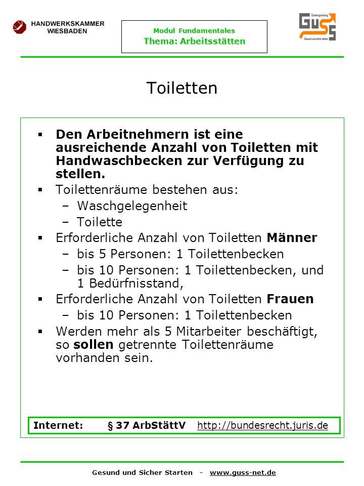 ToilettenDen Arbeitnehmern ist eine ausreichende Anzahl von Toiletten mit Handwaschbecken zur Verfügung zu stellen.