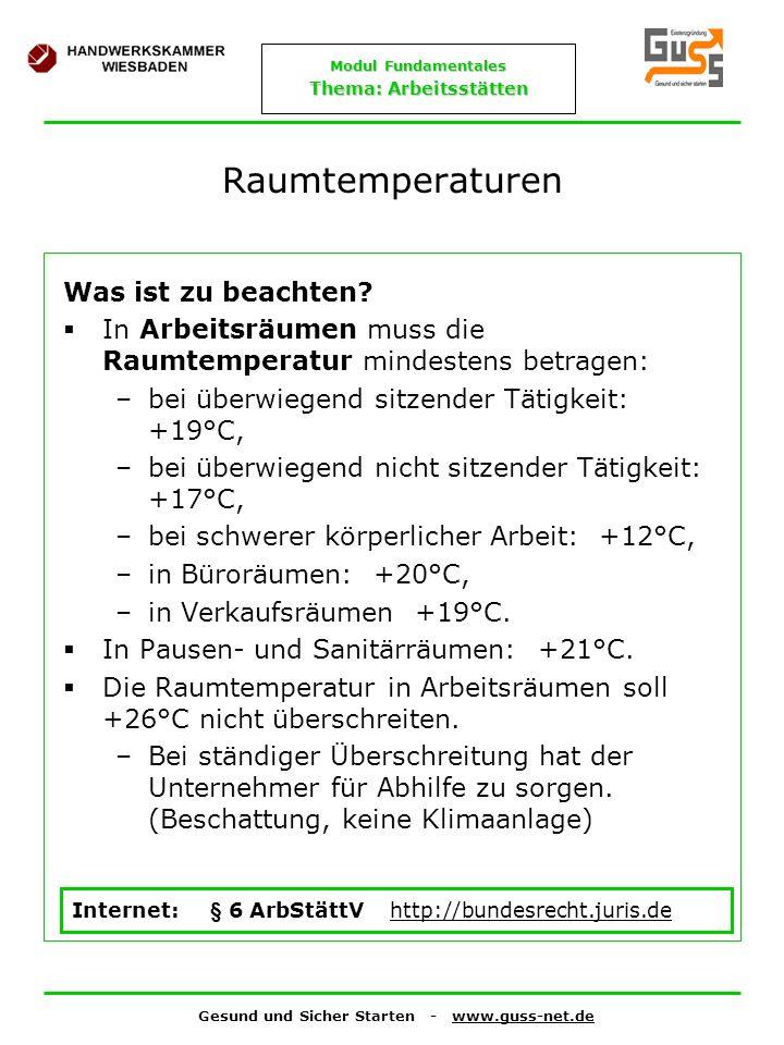 Raumtemperaturen Was ist zu beachten