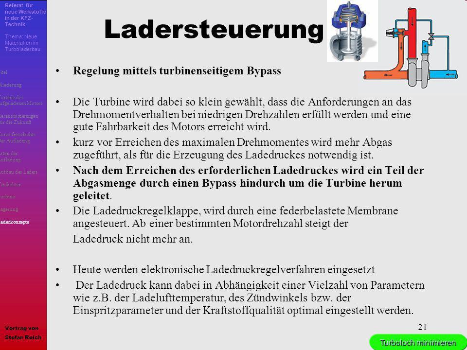 Ladersteuerung Regelung mittels turbinenseitigem Bypass