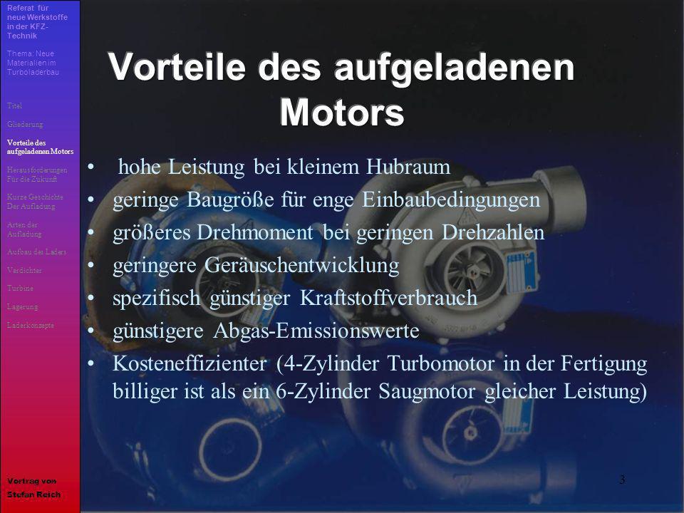 Vorteile des aufgeladenen Motors