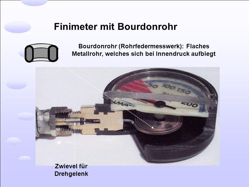 Finimeter mit Bourdonrohr Zwievel für Drehgelenk