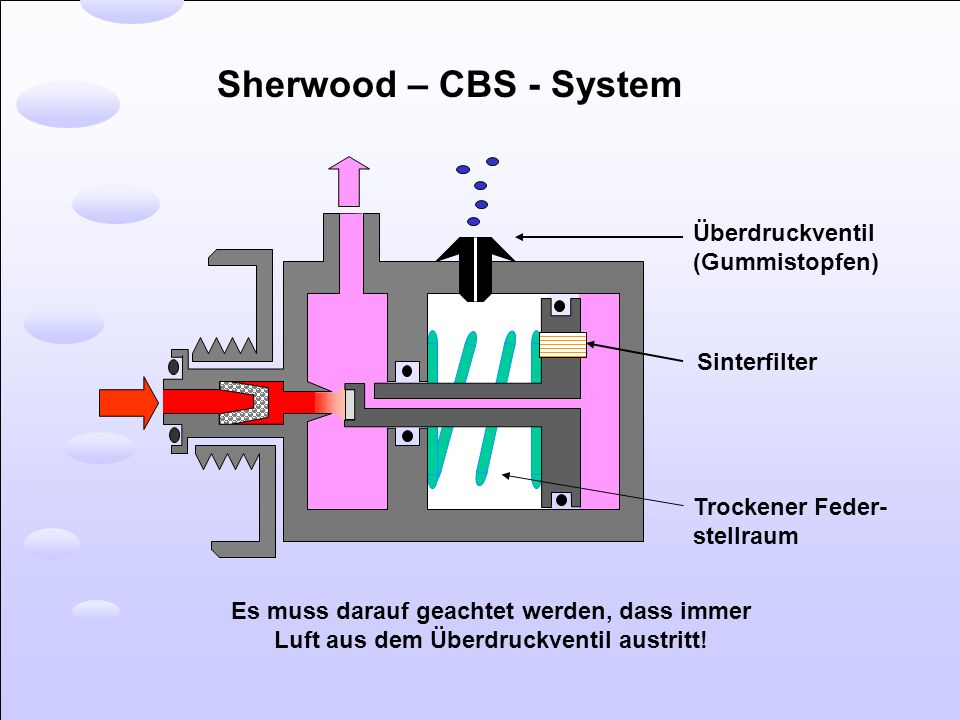 Sherwood – CBS - System Überdruckventil (Gummistopfen) Sinterfilter