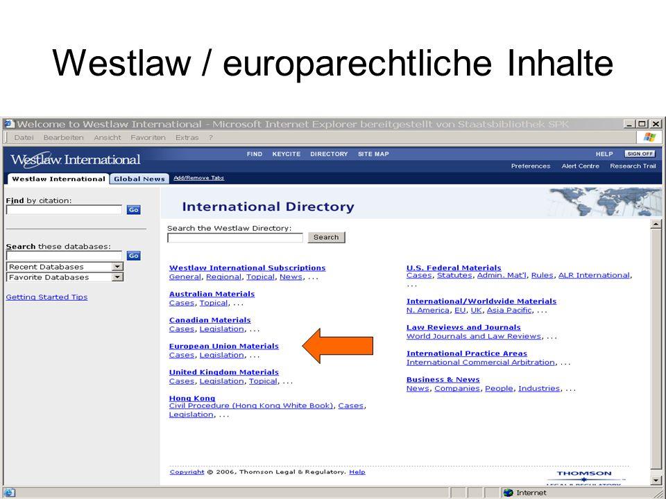 Westlaw / europarechtliche Inhalte