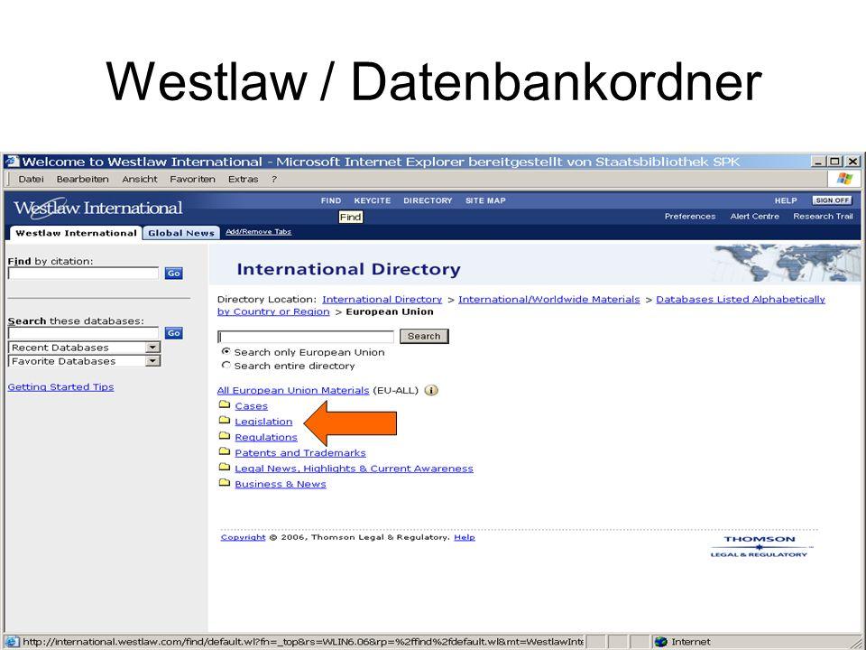 Westlaw / Datenbankordner