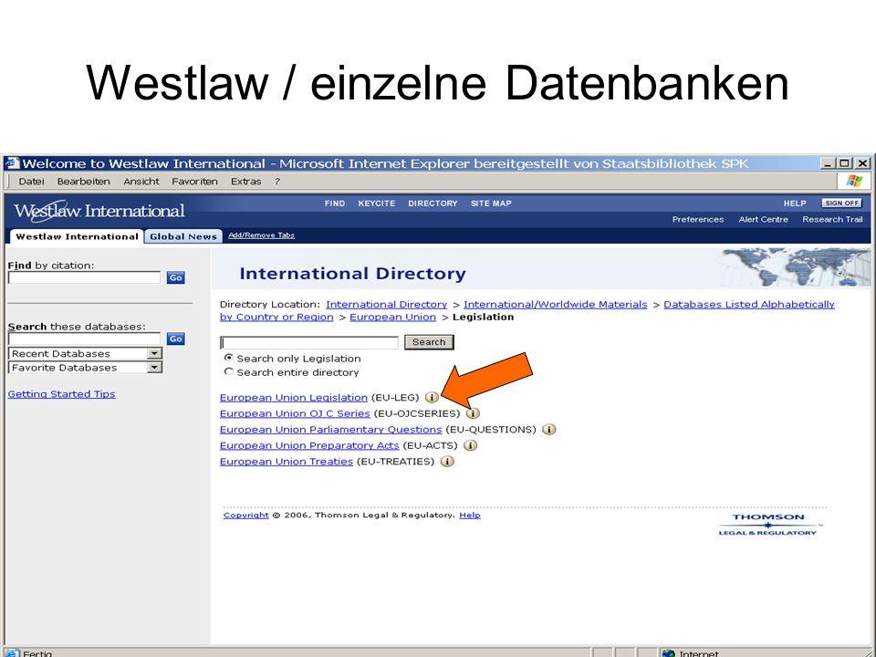 Westlaw / einzelne Datenbanken