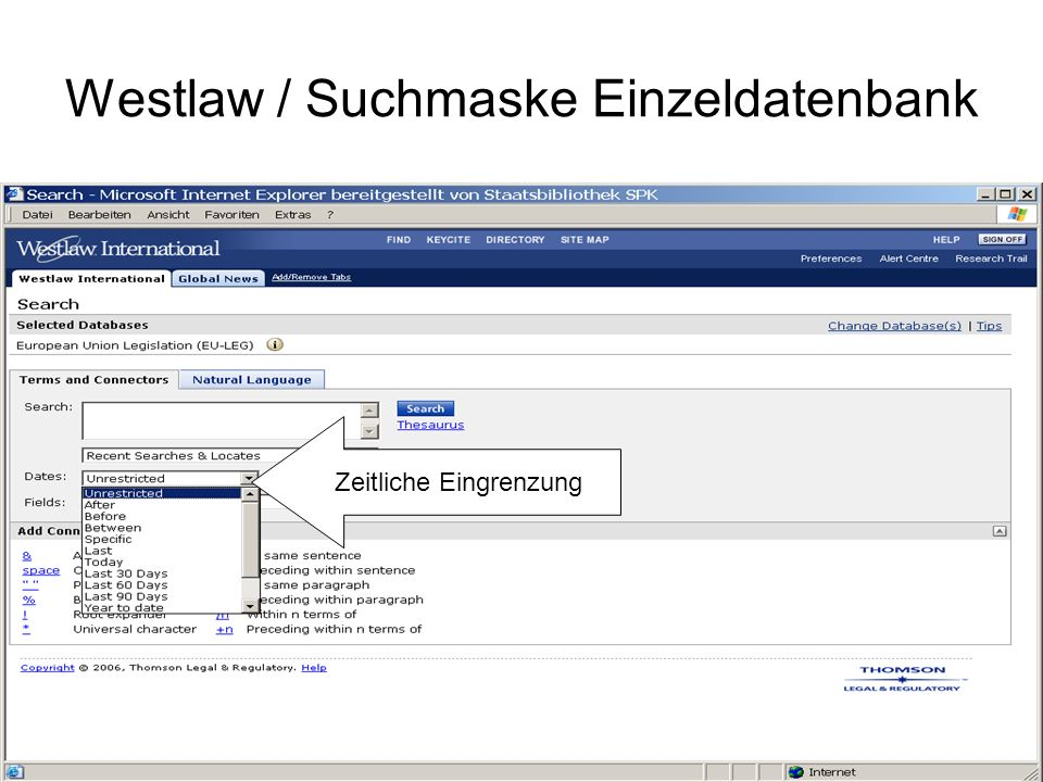 Westlaw / Suchmaske Einzeldatenbank