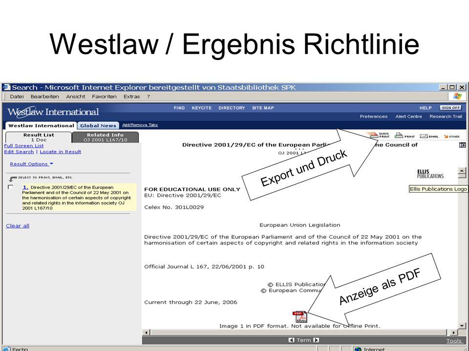Westlaw / Ergebnis Richtlinie