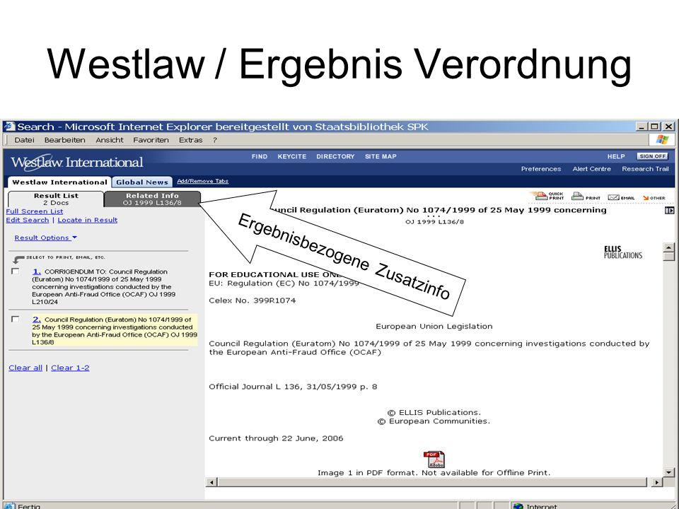 Westlaw / Ergebnis Verordnung