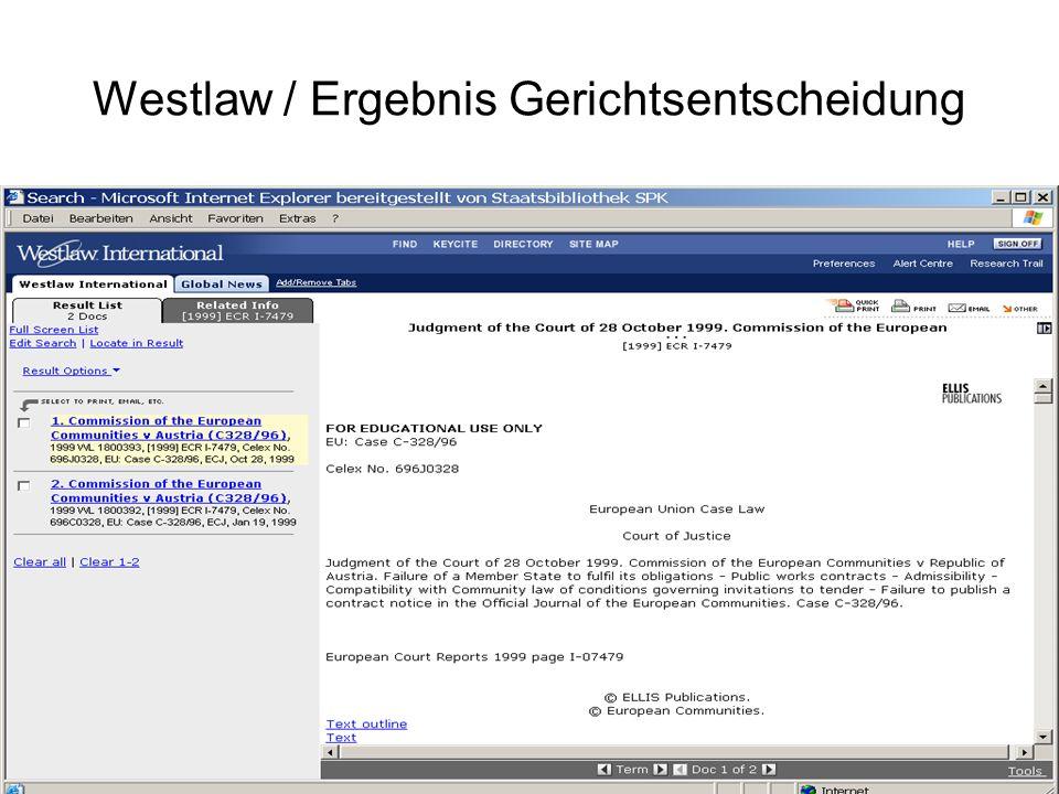 Westlaw / Ergebnis Gerichtsentscheidung