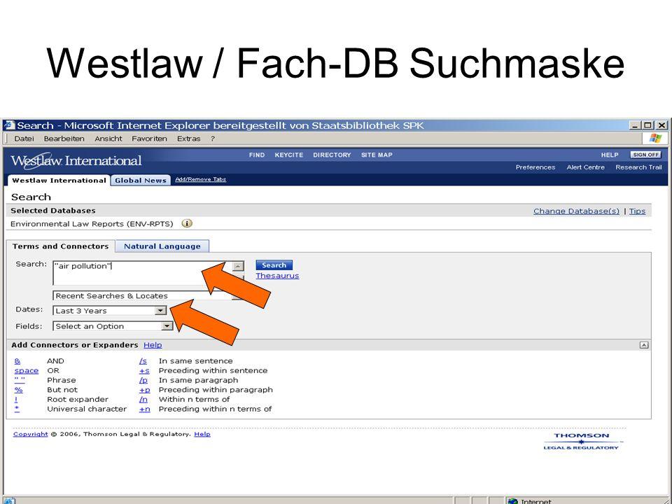 Westlaw / Fach-DB Suchmaske