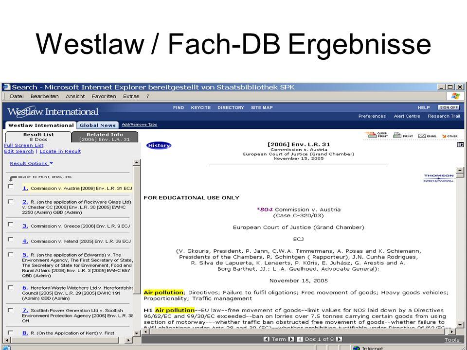 Westlaw / Fach-DB Ergebnisse