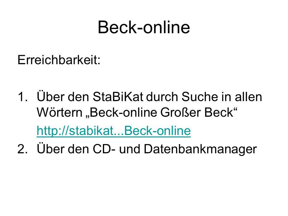 Beck-online Erreichbarkeit: