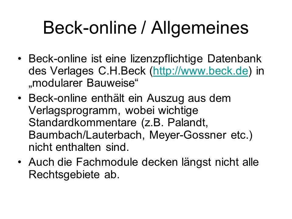 Beck-online / Allgemeines