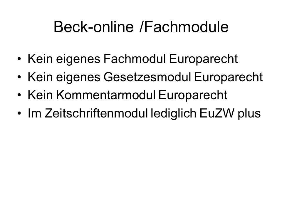 Beck-online /Fachmodule
