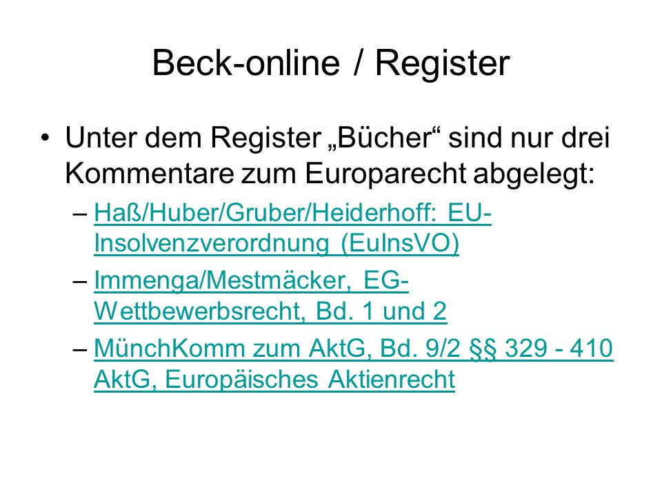 Beck-online / Register