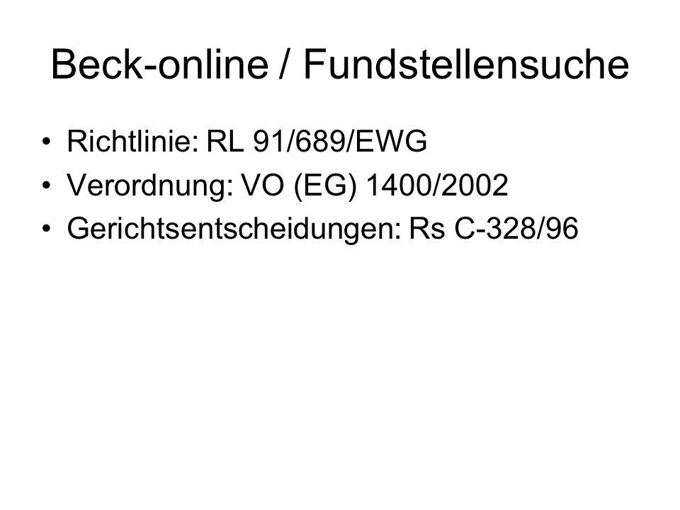 Beck-online / Fundstellensuche