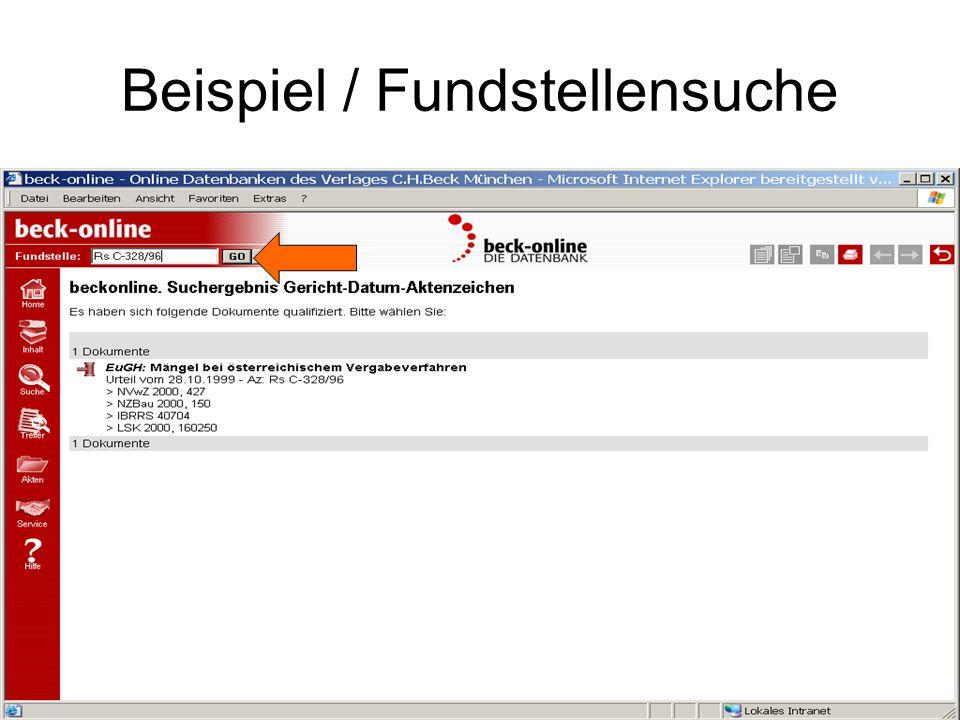 Beispiel / Fundstellensuche