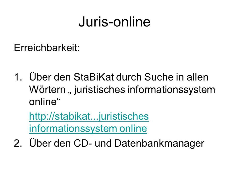 Juris-online Erreichbarkeit: