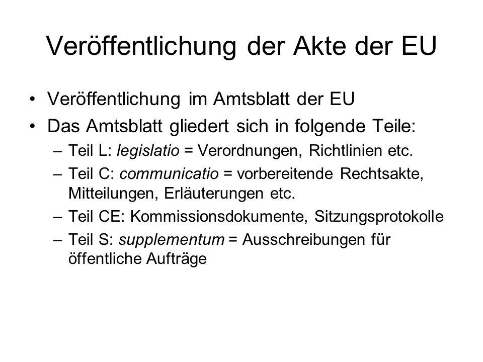 Veröffentlichung der Akte der EU