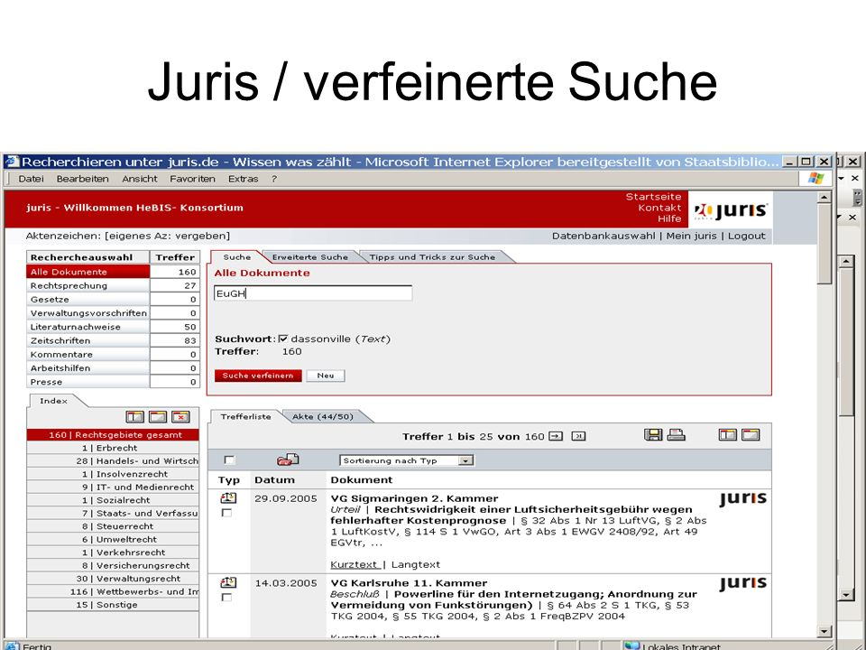 Juris / verfeinerte Suche