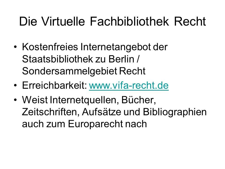 Die Virtuelle Fachbibliothek Recht
