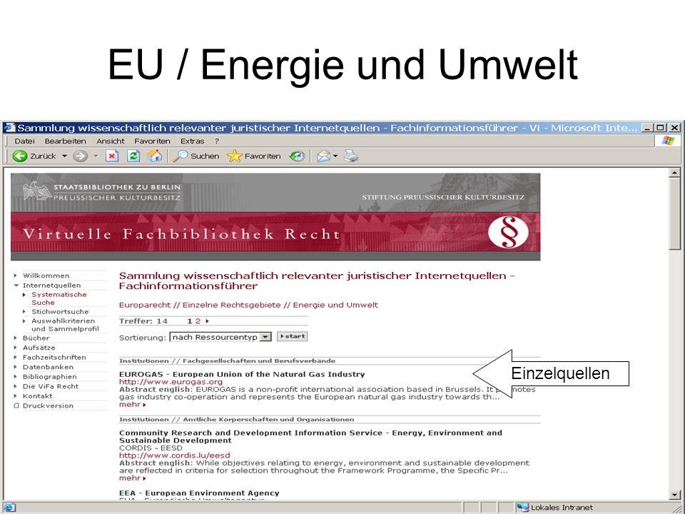 EU / Energie und Umwelt Einzelquellen