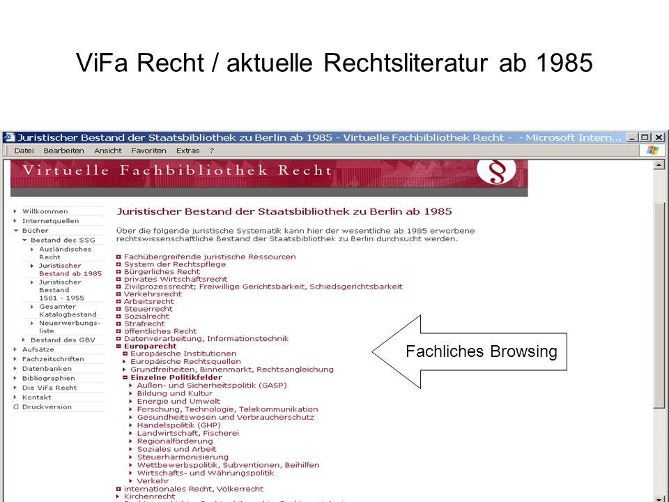 ViFa Recht / aktuelle Rechtsliteratur ab 1985