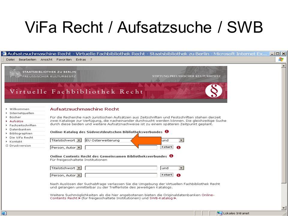 ViFa Recht / Aufsatzsuche / SWB