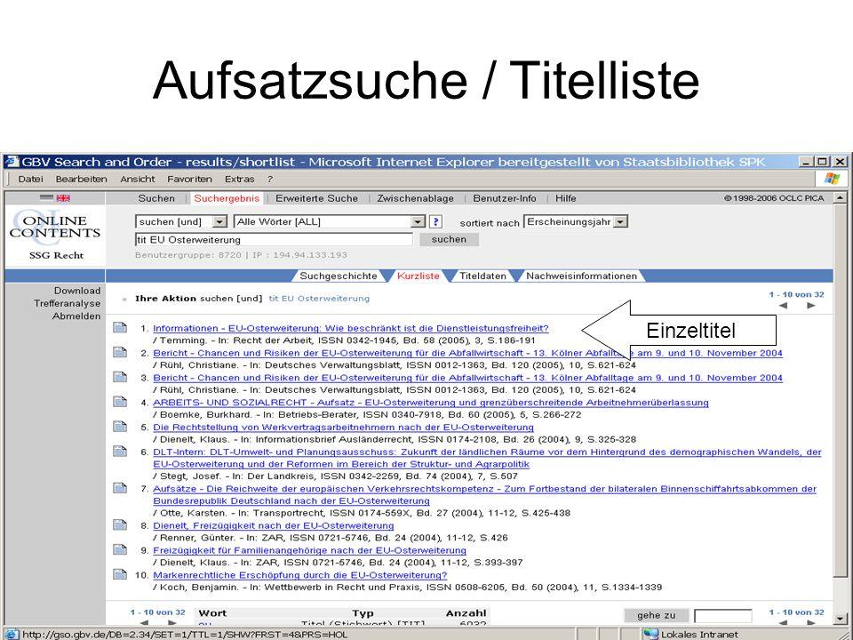 Aufsatzsuche / Titelliste