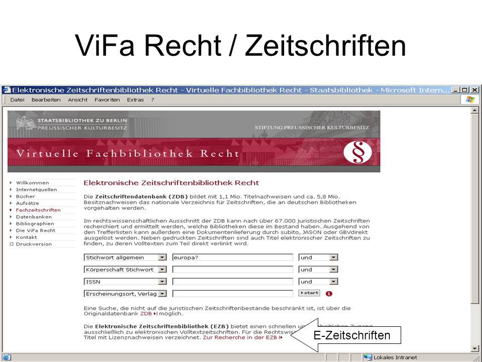 ViFa Recht / Zeitschriften