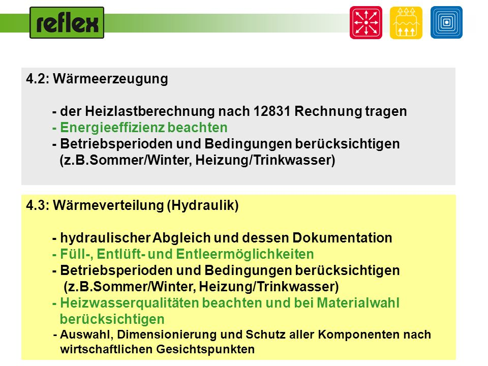 4.2: Wärmeerzeugung - der Heizlastberechnung nach 12831 Rechnung tragen