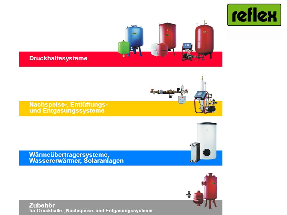 DruckhaltesystemeNachspeise-, Entlüftungs- und Entgasungssysteme. Wärmeübertragersysteme, Wassererwärmer, Solaranlagen.