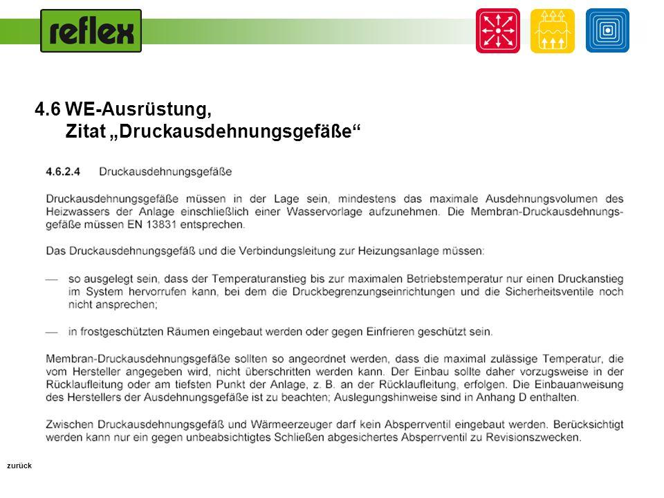 """4.6 WE-Ausrüstung, Zitat """"Druckausdehnungsgefäße"""