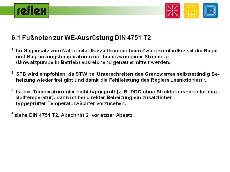6.1 Fußnoten zur WE-Ausrüstung DIN 4751 T2