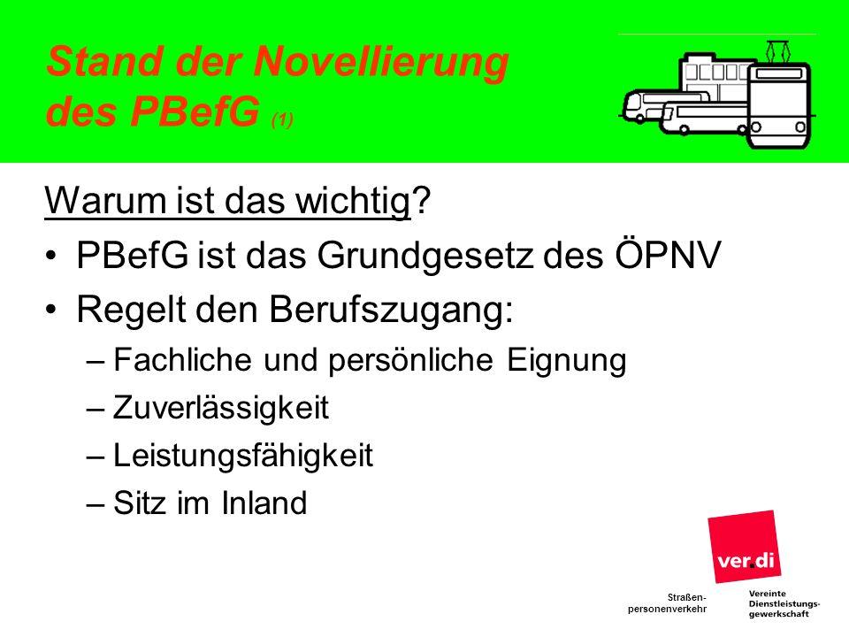 Stand der Novellierung des PBefG (1)
